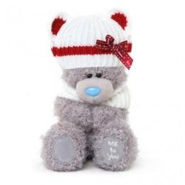 Мишка Me to you в белом шарфике и шапочке с красной ленточкой 18 см (G01W3299)
