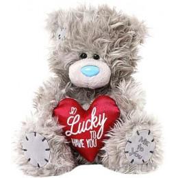Мишка Тедди Me to you с красным сердцем So Lucky to Have You 18 см (G01W3817)
