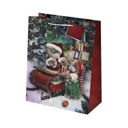 Подарочный пакет Мишки у саней с подарками