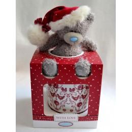 Набор: кружка с мишкой в новогоднем колпачке (G01G0304)