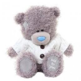Мишка Тедди в белой кофте с чёрным большими пуговицами 18 см (G01W3326)