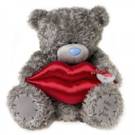 Мишка Тедди держит поцелуйчик 40 см (G01W2883)