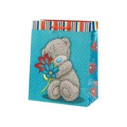Маленький подарочный пакет Мишка с цветами