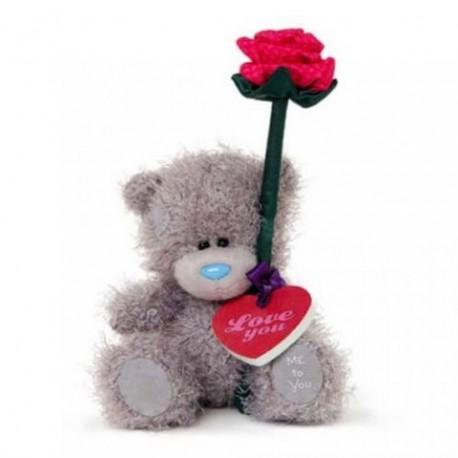 Мишка Тедди держит розу и сердце с надписью LOVE YOU 13 см (G01W3352)