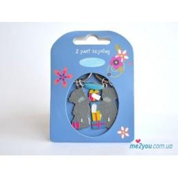 Двойной брелок для ключей Me to you - мишки держат подарки (G01K0133)