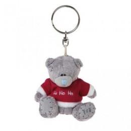 Брелок плюшевый с Мишкой в красном свитере с надписью HO-HO-HO 7,5 см (G01K0168)