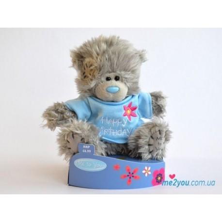 Мишка Тедди в голубой футболочке Happy Birthday (G01W2078)