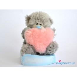 Мишка Тедди с меховым розовым сердцем (G01W2010)