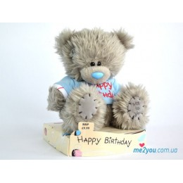 Мишка Teddy в футболочке со словами Happy Birthday (G01W1690)