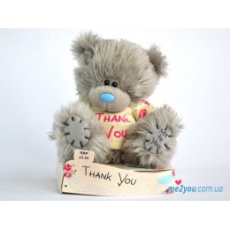 Мишка Teddy в футболочке со словами Thank you (G01W1576)