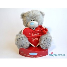 Мишка Тедди с сердцем-плакатом I love you (G01W2034)