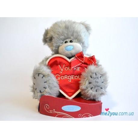 Мишка Тедди с сердцем-плакатом You're gorgeous - Ты великолепна! (G01W2035)