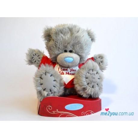 Мишка Тедди в красной футболке I love you this much (G01W2037)