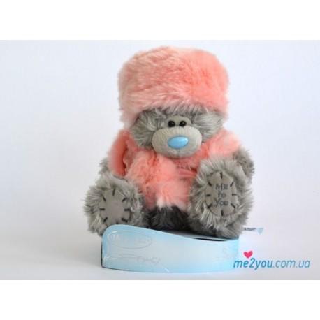 Мишка Тедди в розовом свитере и меховой шапочке (G01W2000)