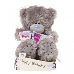 Мишка Teddy с гирляндой Happy Birthday 18 см (G01W1689)