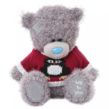 Мишка Me to you в красном джемпере с пингвином 18 см (G01W3327)
