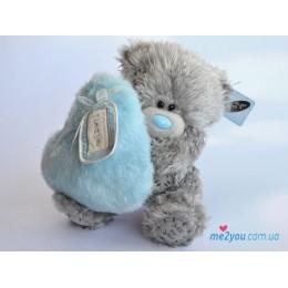 Мишка Тедди держит голубое меховое сердечко I love you (G01W2006)