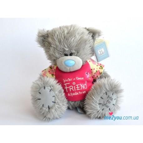 Мишка Teddy в футболочке со словами для друга (G01W1682)