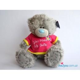 Мишка Тедди в футболочке You make me smile (G01W2095)
