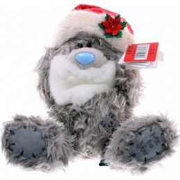 Мишка Ми ту ю в шапке Деда Мороза с бородой 20 см (G01W2753)