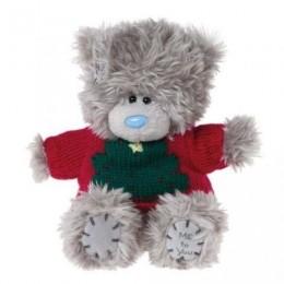Мишка Teddy красном свитере с ёлкой 13 см (G01W2961)