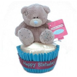 Мишка Teddy на кексе Happy Birthday 7,5 см (G01W3047)