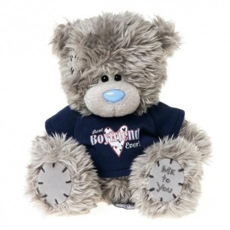 Мишка Тедди в свитере с надписью Best boyfriend ever 18 см (G01W3164)