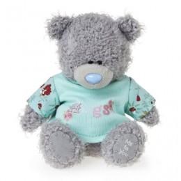 Мишка Ми ту ю в голубой рубашке с надписью HUGS 10 см (G01W3560)