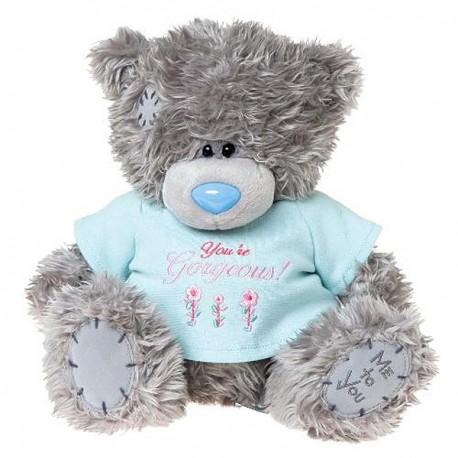 Мишка Тедди в голубой футболке You're gorgeous 25 см (G01W3195)