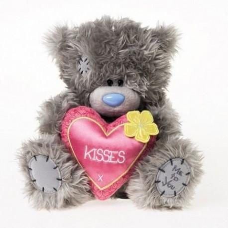 Мишка Me to you держит розовое сердце с жёлтым цветочком 20 см (G01W3027)
