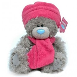 Мишка MTY в розовых шарфике и шапочке 20 см (G01W3037)