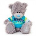 Мишка Teddy в голубенькой футболке Happy birthday 18 см  (G01W3439)