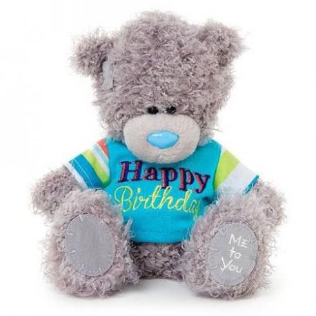 Мишка Teddy держит гирлянду Happy Birthday 18 см (G01W1689)
