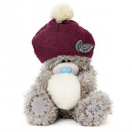 Мишка MTY в вязаной шапочке со снежком в лапах 23 см (G01W3756)