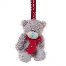 Мишка Me to you с красным шарфиком на ёлку 7,5 см (G01W3317)