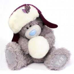 Мишка Ми ту ю в шапке-ушанке и снежком 30 см (G01W3770)