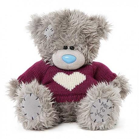 Мишка Teddy в малиновым свитере с сердцем 20 см (G01W3797)