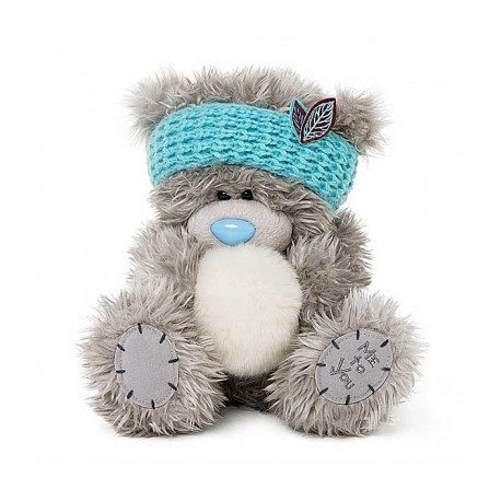 Мишка Митую в голубой повязке со снежком 20 см (G01W3798)