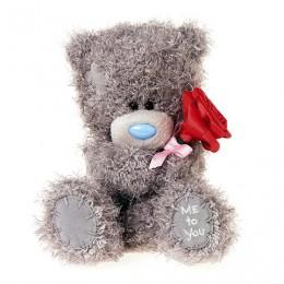 Мишка Митую держащий красную розу 18 см (G01W3816)
