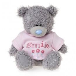 Мишка Тедди в розовой рубашке с надписью Smile 10 см (G01W3576)