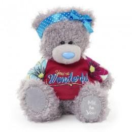 Мишка Teddy в белой кофте с пуговицами 18 см (G01W3326)