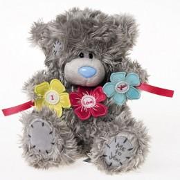 Мишка Тедди держит гирлянду цветочков I Love You 20 см (G01W3016)