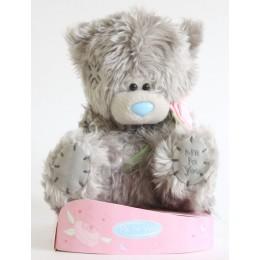 Мишка Тедди с розовой розочкой (G01W2249)