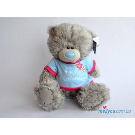 Мишка Тедди в голубой футболочке (G01W2092)