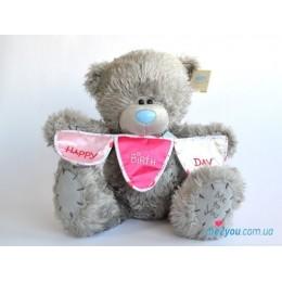 Мишка Teddy держит гирлянду из флажков (G01W1696)