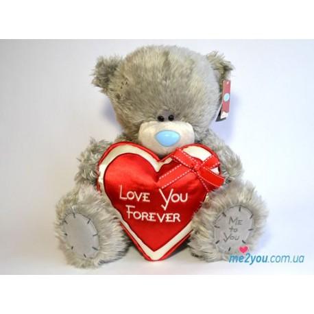 Мишка Тедди с атласным сердцем Love you forever (G01W2050)