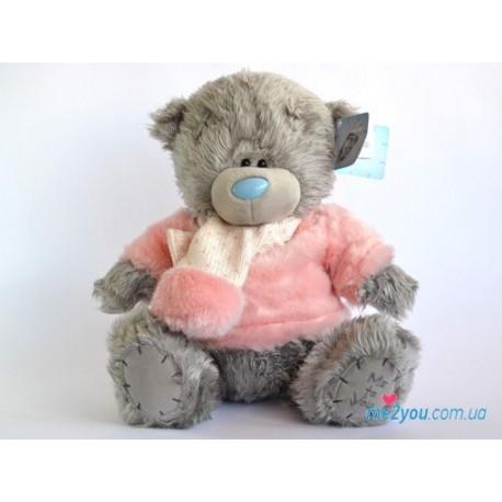 Мишка Тедди в розовом свитере с шарфиком (G01W1993)