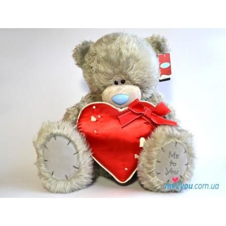 Мишка Тедди держит сердце с бантом (G01W2054)