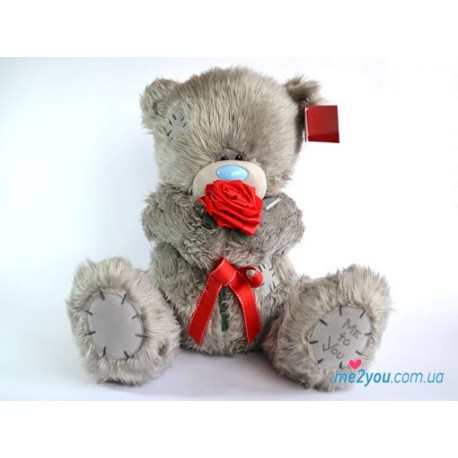 Мишка Teddy с красной розочкой (G01W1605)