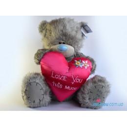 Мишка Тедди с атласным сердцем I love you this much (G01W2099)
